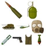Militari ed icone stabilite dell'esercito nello stile del fumetto La grande raccolta dei militari e l'esercito vector l'illustraz Fotografie Stock Libere da Diritti