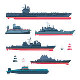 Militaristic ships icons. Set. Navy ammunition, warship and submarine, nuclear battleship, float and cruiser, trawler and gunboat, frigate and ferry, vector vector illustration