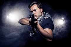 Militarized Police or Model with Airsoft Gun Stock Photos