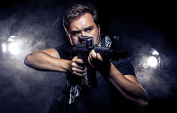 Militarized Police or Model with Airsoft Gun Royalty Free Stock Photo