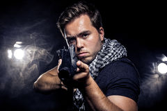Militarized Police or Model with Airsoft Gun Stock Image