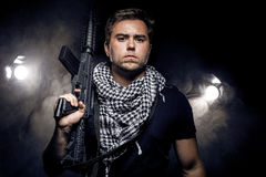 Militarized Police or Model with Airsoft Gun Stock Photo