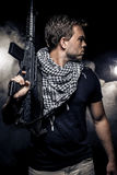 Militarized Police or Model with Airsoft Gun Royalty Free Stock Image