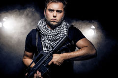 Militarized Police or Model with Airsoft Gun Royalty Free Stock Photography