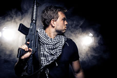 Militarized Police or Model with Airsoft Gun Royalty Free Stock Photos