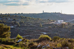 Militarna baza przy górą przy zmierzchu czasem, Izrael, Samaria zdjęcie stock