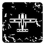Militarna biplan ikona, grunge styl Obrazy Stock