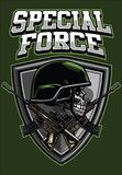 Militarna czaszka jest ubranym hełm i krzyżuje karabinu projekt ilustracja wektor