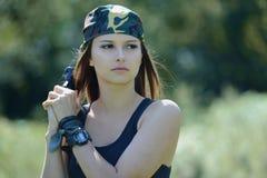 Militarna dziewczyna Fotografia Stock