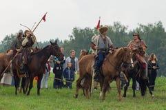 Militarna odbudowa bitwy antyczne słowianki w kwinta festiwalu dziejowi kluby w Zhukovsky okręgu Zdjęcie Royalty Free