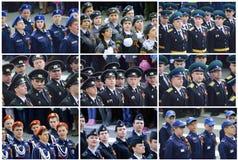 Militarna parada świętować drugiej wojny światowa zwycięstwa dzień na Maju Zdjęcia Stock