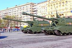 Militarna parada dedykował zwycięstwo dzień w drugiej wojnie światowa w Mosc Obrazy Royalty Free