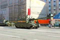 Militarna parada dedykował zwycięstwo dzień w drugiej wojnie światowa w Mosc Zdjęcie Royalty Free