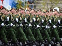 Militarna parada na cześć zwycięstwo dzień na placu czerwonym na 9 może 2017 Kadeci Moskwa rozkazu wojskowego wysoka szkoła Obraz Stock