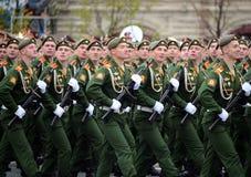 Militarna parada na cześć zwycięstwo dzień na placu czerwonym na 9 może 2017 Kadeci Moskwa rozkazu wojskowego wysoka szkoła Obrazy Royalty Free