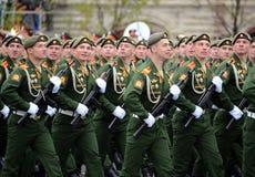 Militarna parada na cześć zwycięstwo dzień na placu czerwonym na 9 może 2017 Kadeci Moskwa rozkazu wojskowego wysoka szkoła Obrazy Stock