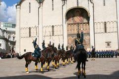 Militarna parada przed katedrą Annunciation, Krem Obraz Royalty Free