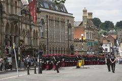Militarna parada przy ratuszem Winchester Anglia UK Zdjęcia Stock