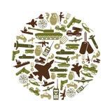 Militarnego tematu proste zielone ikony w okręgu royalty ilustracja