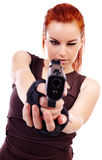 Militarnej rudzielec piękna młoda dama Fotografia Stock