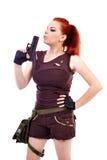 Militarnej rudzielec piękna młoda dama Zdjęcie Stock