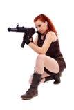 Militarnej rudzielec piękna młoda dama Obrazy Stock