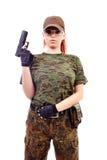 Militarnej rudzielec piękna młoda dama Fotografia Royalty Free