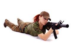 Militarnej rudzielec piękna młoda dama Obrazy Royalty Free