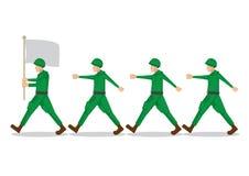 Militarni żołnierze w zieleni mundurują dopasowywanie z ich drużynowym dowóca wojskowy i ich wojsko flagą Wektorowa ilustracja od ilustracja wektor