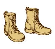 Militarni buty rysuje tła trawy kwiecistego wektora Zdjęcie Royalty Free