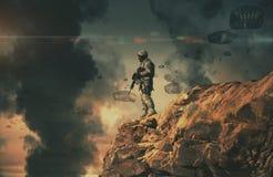 Militarni helikoptery i siły w zniszczonym mieście fotografia royalty free