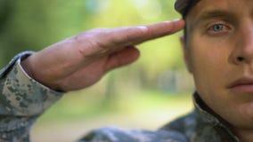 Militarny żołnierz salutuje, ochrony strategia, wojenna misja, siły zbrojne zdjęcie wideo