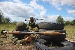 Militarny żołnierza granatnik fotografia royalty free