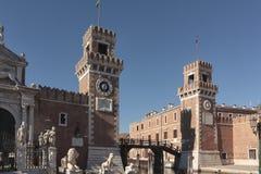 Militarny arsenału wejście, Lipiec 21, 2017 Wenecja, Włochy Obrazy Stock