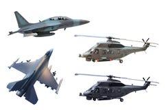 Militarny dżetowy samolot i helikopter fotografia stock