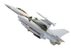 Militarny dżetowy samolot z pełnym broń pociskiem odizolowywającym na bielu obraz stock