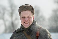 Militarny dziejowy reenactment 'Aleksander Matrosov'wyczyn Zdjęcie Stock