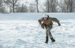 Militarny dziejowy reenactment 'Aleksander Matrosov'wyczyn Obrazy Royalty Free