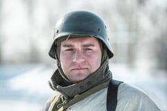 Militarny dziejowy reenactment 'Aleksander Matrosov'wyczyn Zdjęcia Royalty Free