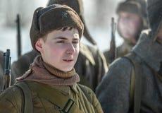 Militarny dziejowy reenactment 'Aleksander Matrosov'wyczyn Obrazy Stock