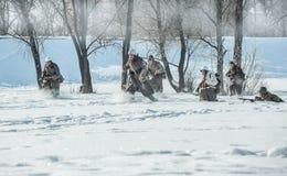 Militarny dziejowy reenactment 'Aleksander Matrosov'wyczyn Fotografia Stock