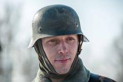 Militarny dziejowy reenactment 'Aleksander Matrosov'wyczyn Obraz Royalty Free