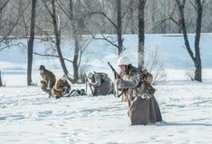 Militarny dziejowy reenactment 'Aleksander Matrosov'wyczyn Zdjęcia Stock