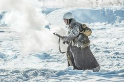 Militarny dziejowy reenactment 'Aleksander Matrosov'wyczyn Fotografia Royalty Free