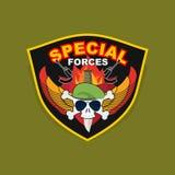 Militarny emblemat z czaszką i bronią, skrzydła na osłonie WA Zdjęcia Stock