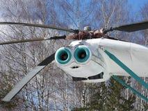 Militarny helikopter, śmigła, instalacje i jednostki dla strzelać, w górę obrazy stock