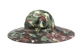 Militarny khaki kapelusz na białym tle Obraz Stock