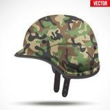 Militarny nowożytny kamuflażu hełm Boczny widok Obraz Royalty Free