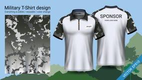 Militarny polo koszulki projekt z kamuflażu drukiem, odziewa dla dżungli, wycieczkujący trekking lub myśliwego, wektoru eps10 kar ilustracji
