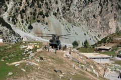Militarny powodzi poparcie pacnięcie dolina, Pakistan Obraz Stock